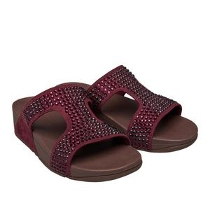 FitFlop Berry Crystal Glitzie Slide Wedge Sandals